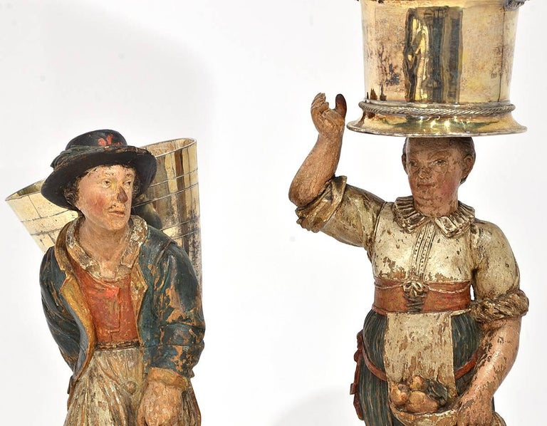 Rare Pair of Late 18th-Early 19th Century Italian Carved and Painted Figures 2