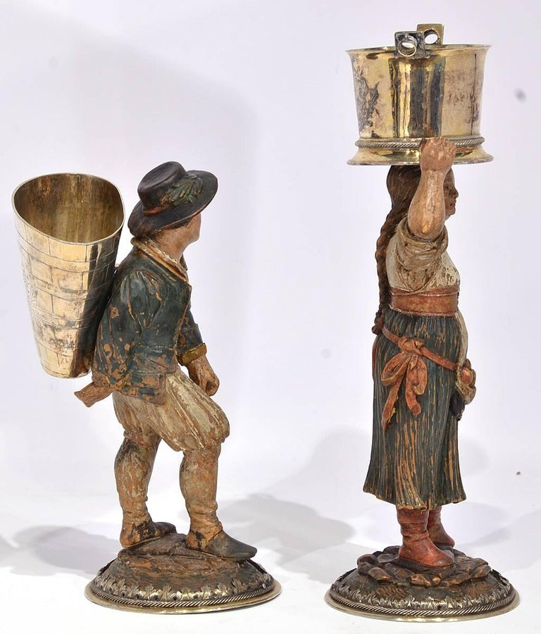 Rare Pair of Late 18th-Early 19th Century Italian Carved and Painted Figures 3