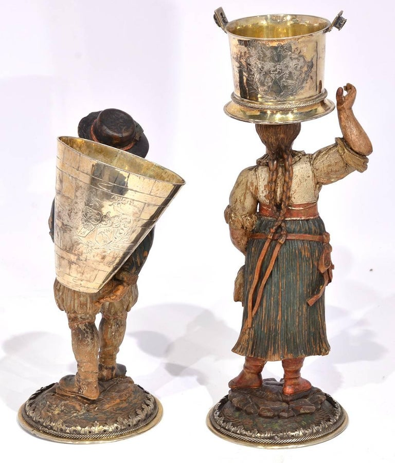 Rare Pair of Late 18th-Early 19th Century Italian Carved and Painted Figures 4