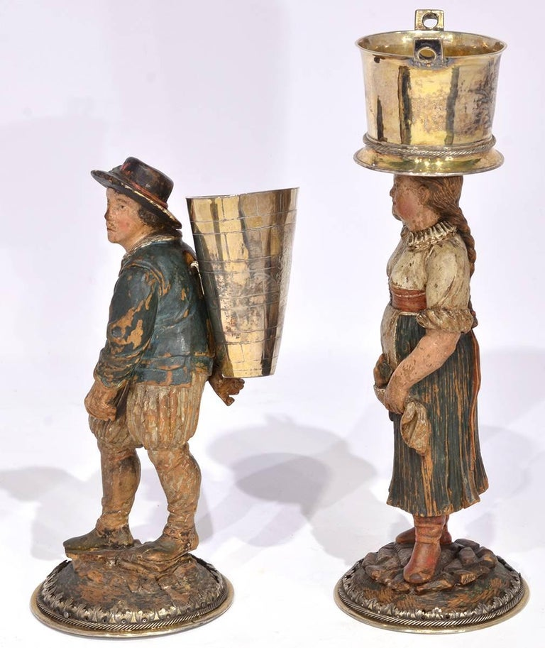 Rare Pair of Late 18th-Early 19th Century Italian Carved and Painted Figures 5