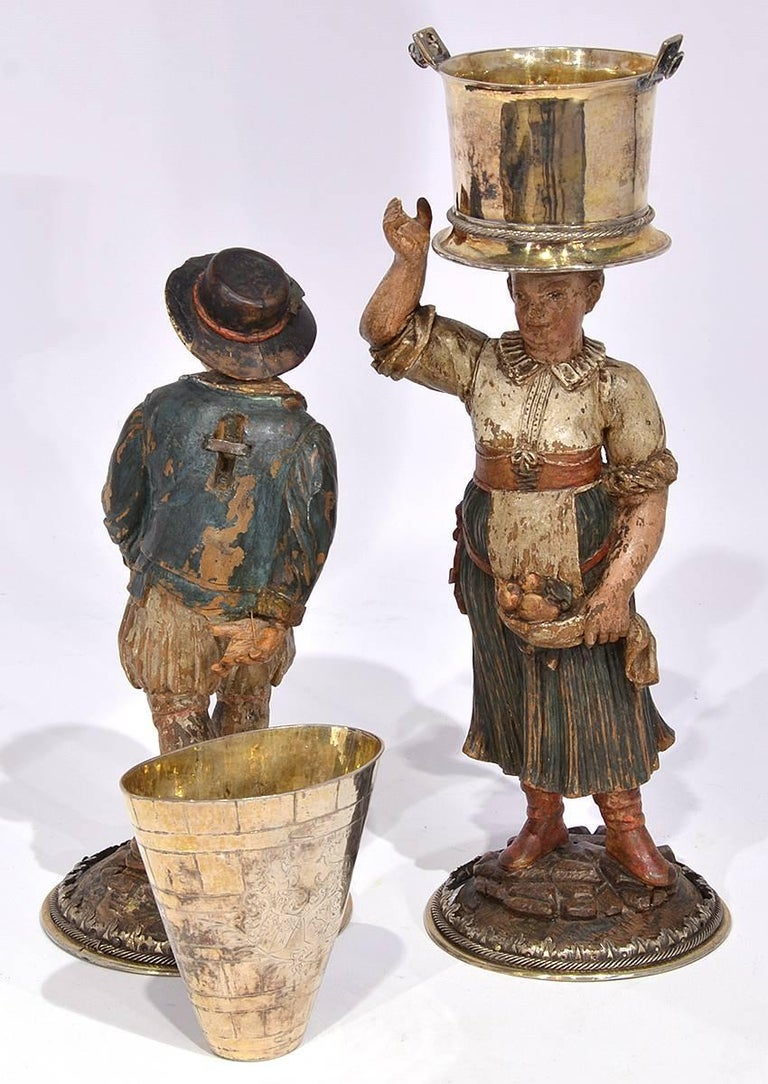Rare Pair of Late 18th-Early 19th Century Italian Carved and Painted Figures 6