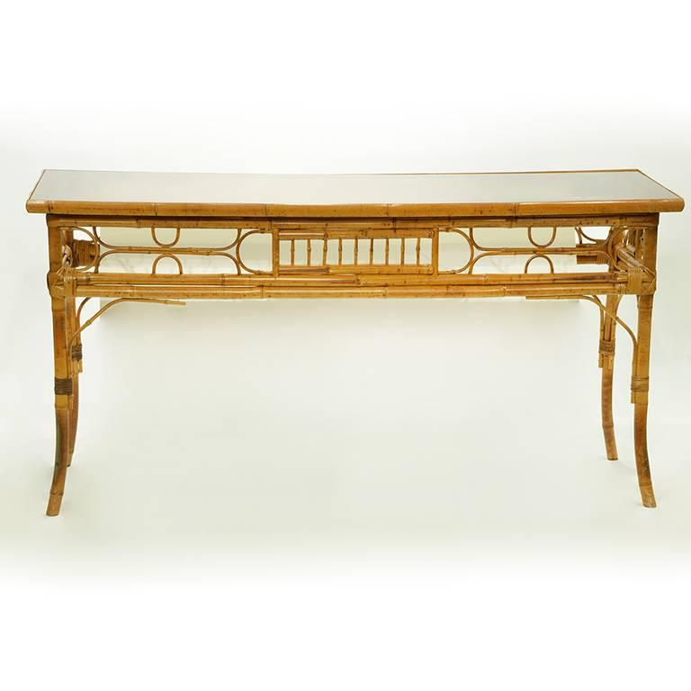 Vintage English Bamboo Sofa / Console Table 5