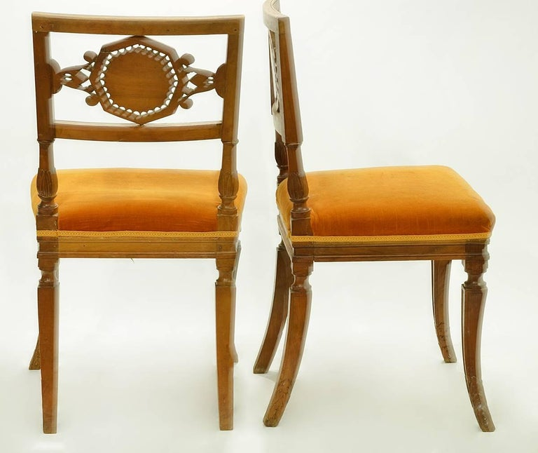 Fabric Pair of Rare Early 19th Century Italian Neoclassical Carved Walnut Side Chairs For Sale