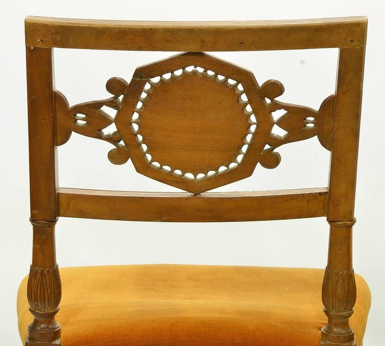 Pair of Rare Early 19th Century Italian Neoclassical Carved Walnut Side Chairs For Sale 1
