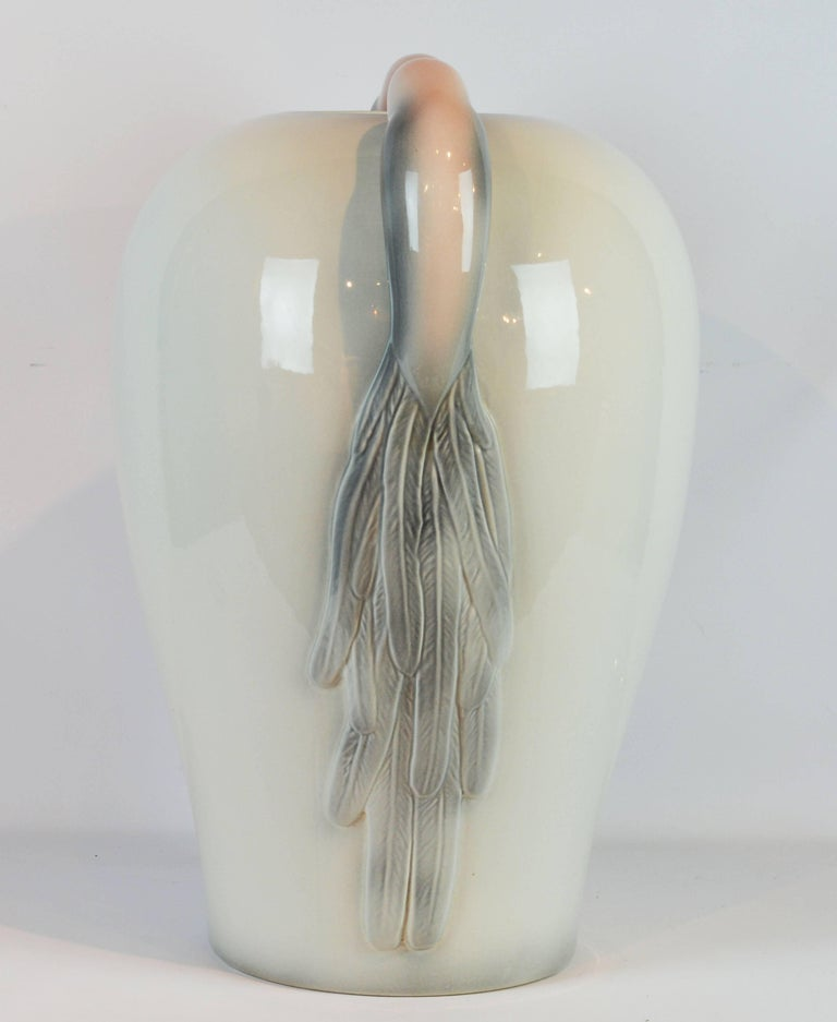 Glazed Large Italian Art Deco Style Ceramic Floor Vase with Bird of Paradise Handles For Sale