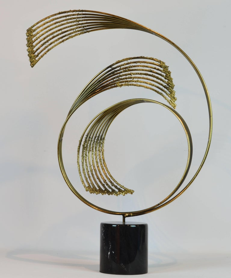 American Stunning Midcentury Abstract Swirling Brass Sculpture Signed by Curtis Jere For Sale