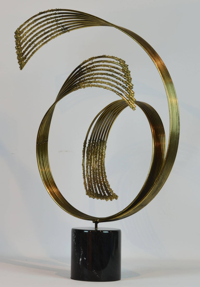 Stunning Midcentury Abstract Swirling Brass Sculpture Signed by Curtis Jere 5