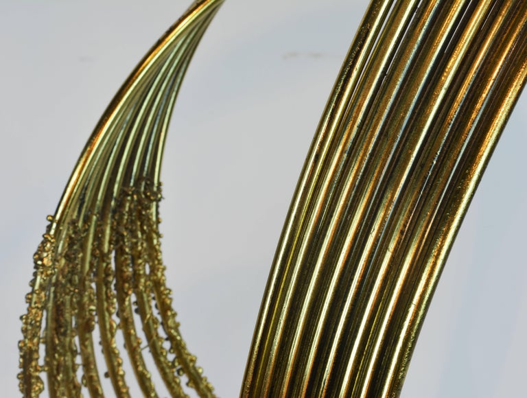 Stunning Midcentury Abstract Swirling Brass Sculpture Signed by Curtis Jere For Sale 1