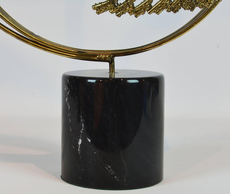 Stunning Midcentury Abstract Swirling Brass Sculpture Signed by Curtis Jere For Sale 2