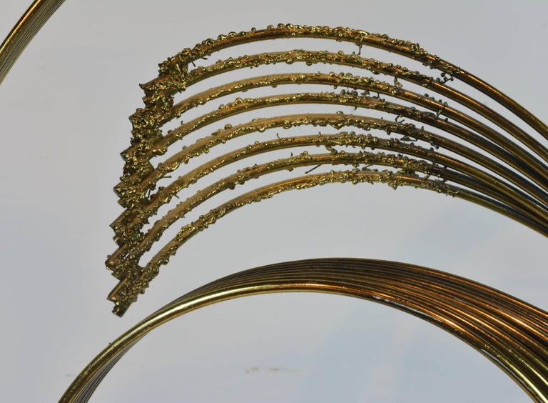 Stunning Midcentury Abstract Swirling Brass Sculpture Signed by Curtis Jere For Sale 3