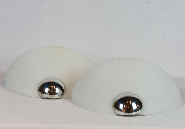 Pair of Italian Art Deco Inspired Arteluce/Flos Glass and Chrome Wall Lamps 2