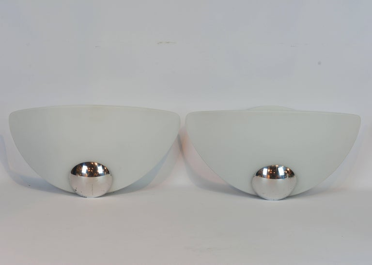 Pair of Italian Art Deco Inspired Arteluce/Flos Glass and Chrome Wall Lamps 10