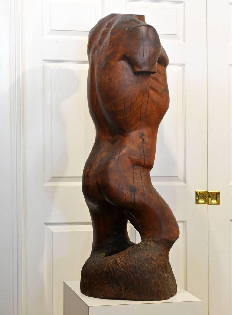Mid-Century Modern Expressive Lifesize Hardwood Statue of Male Nude by Dennis Penessa For Sale