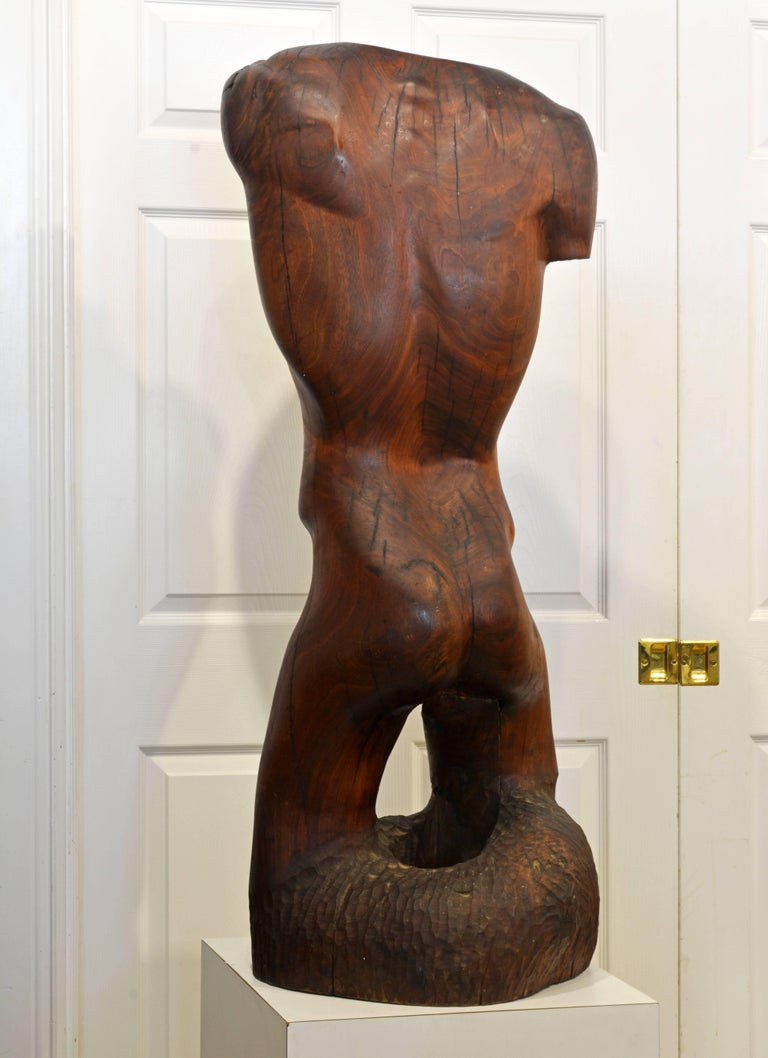American Expressive Lifesize Hardwood Statue of Male Nude by Dennis Penessa For Sale