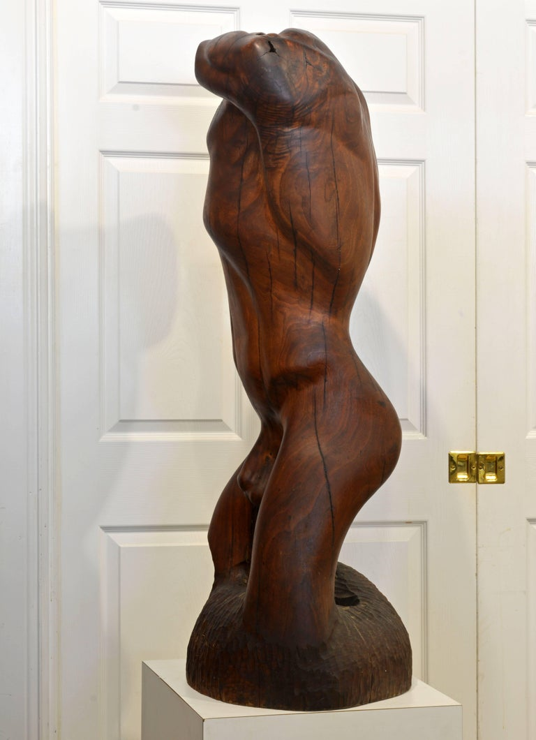 Carved Expressive Lifesize Hardwood Statue of Male Nude by Dennis Penessa For Sale