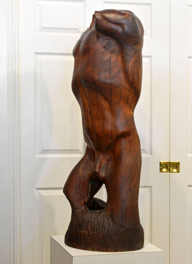 Expressive Lifesize Hardwood Statue of Male Nude by Dennis Penessa In Good Condition For Sale In Ft. Lauderdale, FL