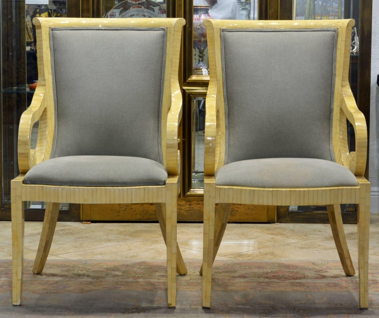 Pair of Tessellated Neoclassical Style Bone Inlay Armchairs by Enrique Garcel 2