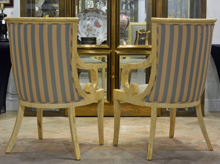 Pair of Tessellated Neoclassical Style Bone Inlay Armchairs by Enrique Garcel 3