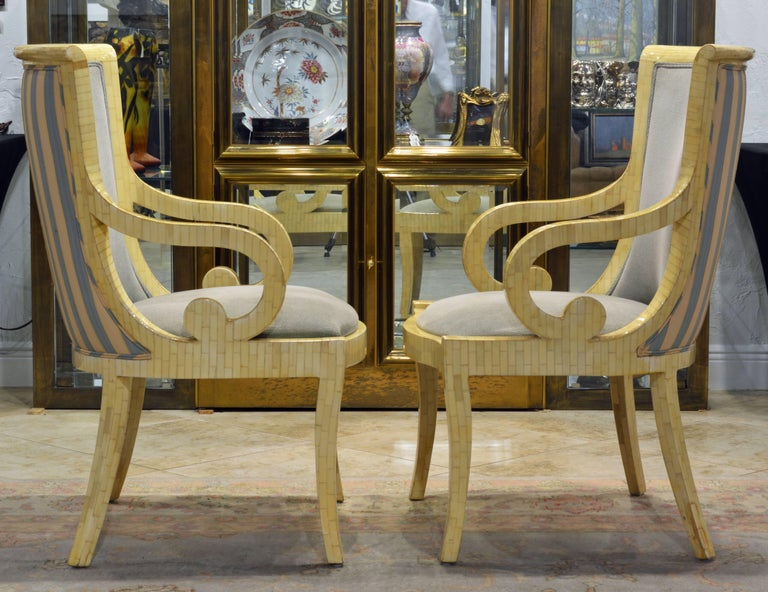 Pair of Tessellated Neoclassical Style Bone Inlay Armchairs by Enrique Garcel 4