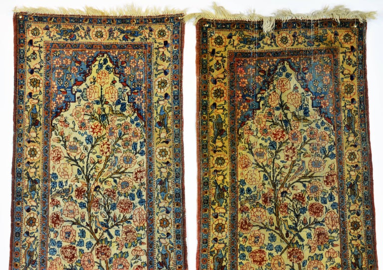 Sarouk Farahan Rare Pair of Antique Lavar Kerman Persian 'Tree of Life' Prayer Carpets For Sale