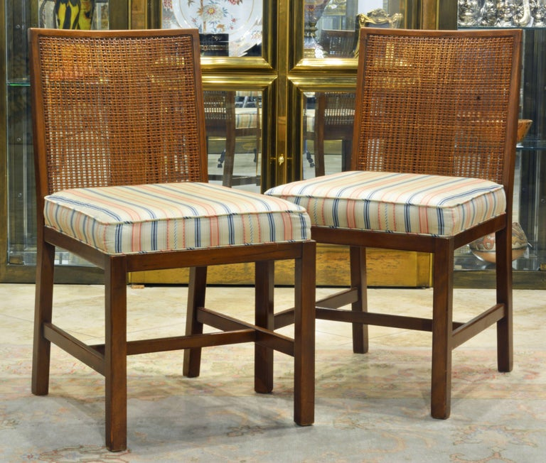 Mid-Century Modern Set of Four Scandinavian Style Cane Back Dining Chairs Manner of Michael Taylor For Sale