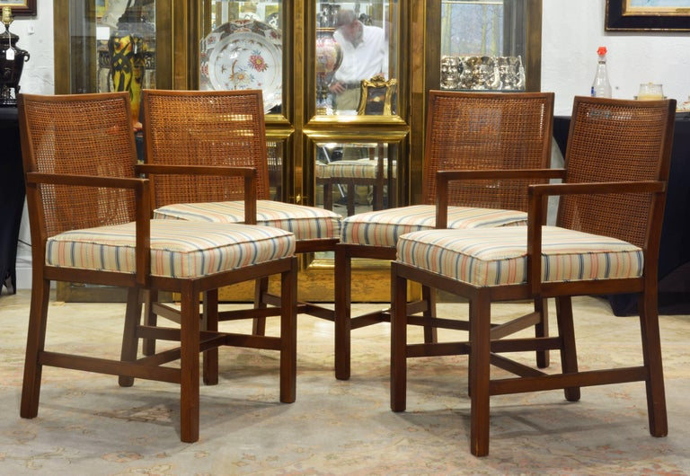 Set of Four Scandinavian Style Cane Back Dining Chairs Manner of Michael Taylor For Sale 3