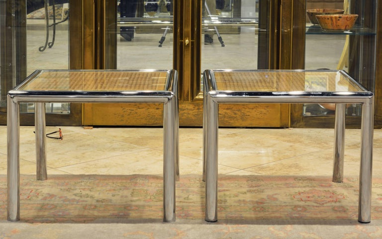 Pair of Tubular Chrome Frame and Caned Glass Top Side Tables by Milo Baughman 5