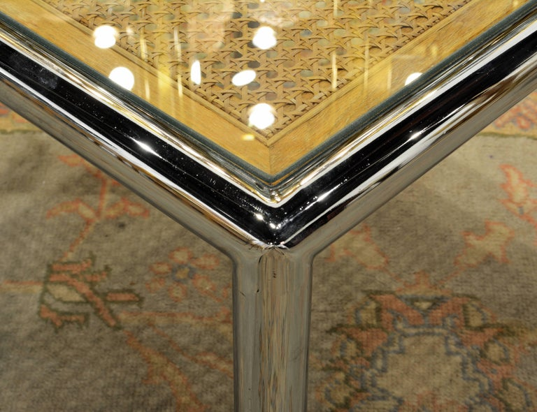 Pair of Tubular Chrome Frame and Caned Glass Top Side Tables by Milo Baughman 6