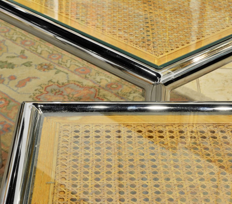 Pair of Tubular Chrome Frame and Caned Glass Top Side Tables by Milo Baughman 9