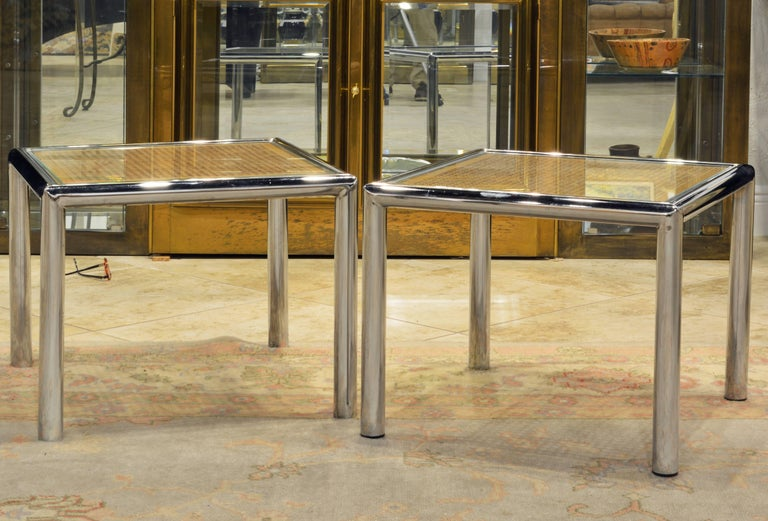 Pair of Tubular Chrome Frame and Caned Glass Top Side Tables by Milo Baughman 10