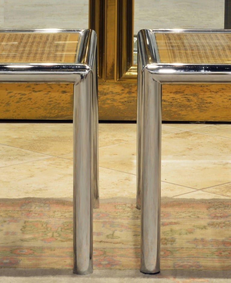 Pair of Tubular Chrome Frame and Caned Glass Top Side Tables by Milo Baughman 3