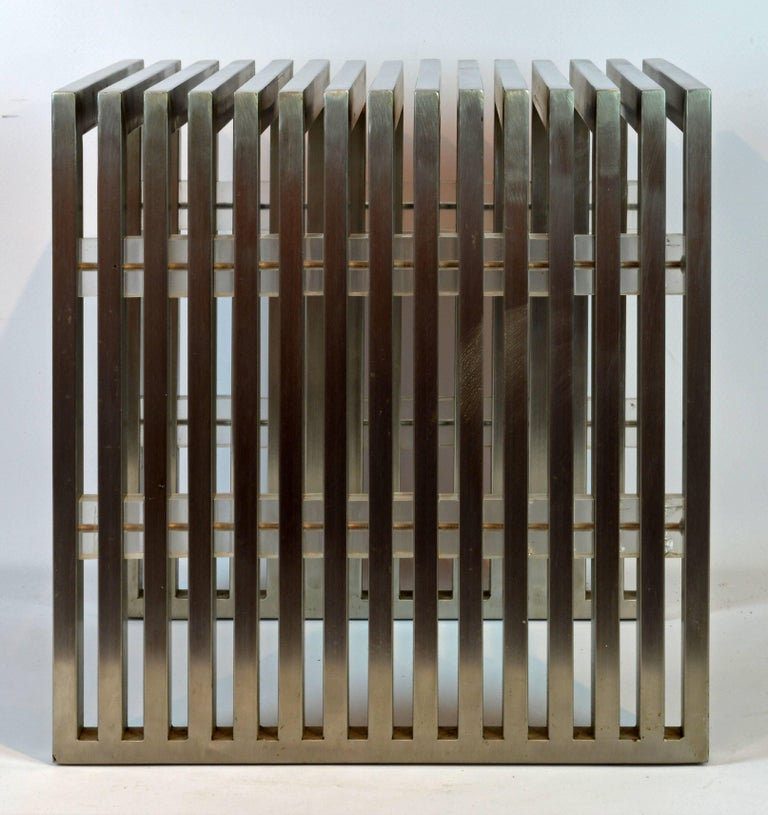 Brushed Steel and Lucite Midcentury Slat Bench Attributed to Milo Baughman 2