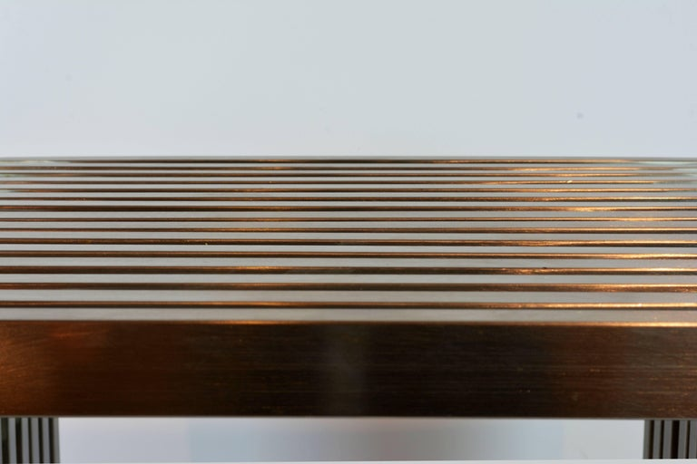 Brushed Steel and Lucite Midcentury Slat Bench Attributed to Milo Baughman 6