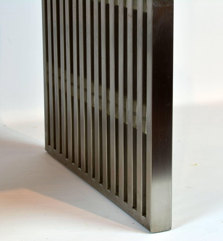 Brushed Steel and Lucite Midcentury Slat Bench Attributed to Milo Baughman For Sale 1