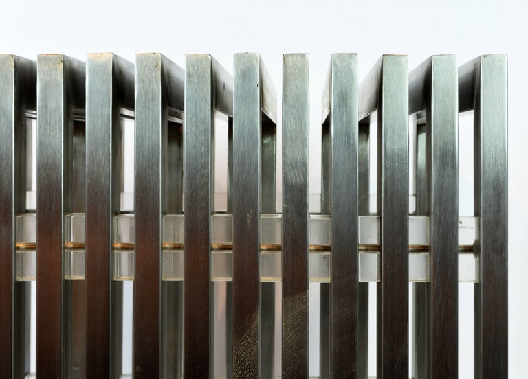 Brushed Steel and Lucite Midcentury Slat Bench Attributed to Milo Baughman 8