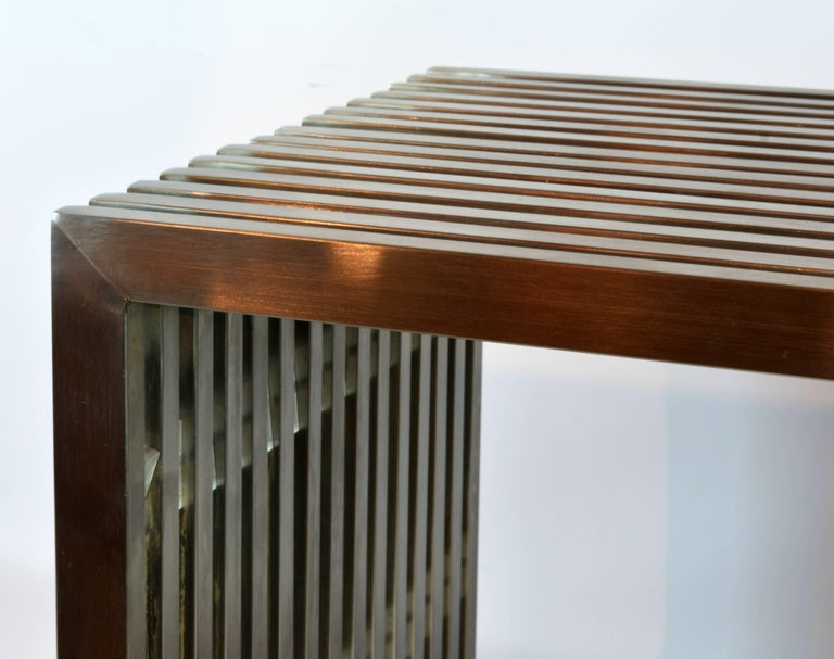 Brushed Steel and Lucite Midcentury Slat Bench Attributed to Milo Baughman For Sale 3