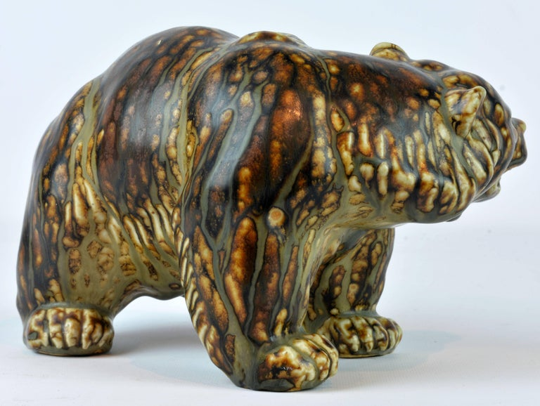 Mid-Century Modern Midcentury Royal Copenhagen Large Sung Glaze Stoneware Bear by Knud Kyhn For Sale