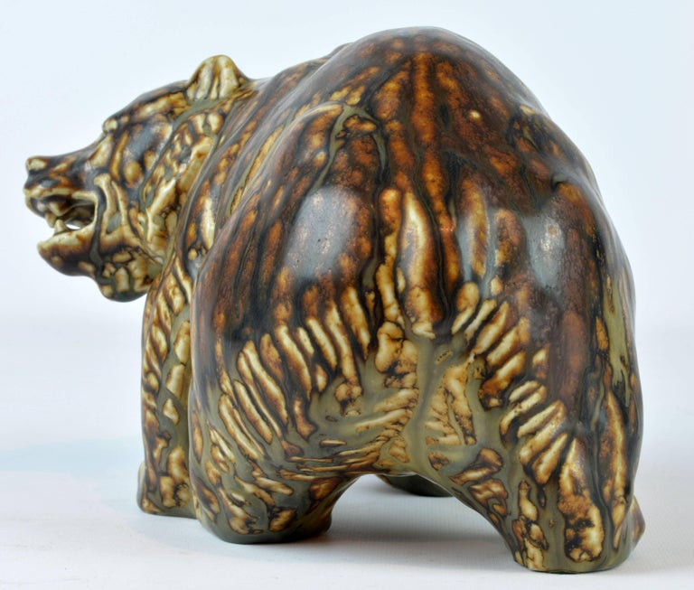 Danish Midcentury Royal Copenhagen Large Sung Glaze Stoneware Bear by Knud Kyhn For Sale