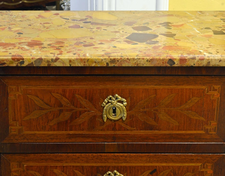 French Louis XVI Style Six-Drawer Bronze-Mounted Marble-Top Semainier Commode 2
