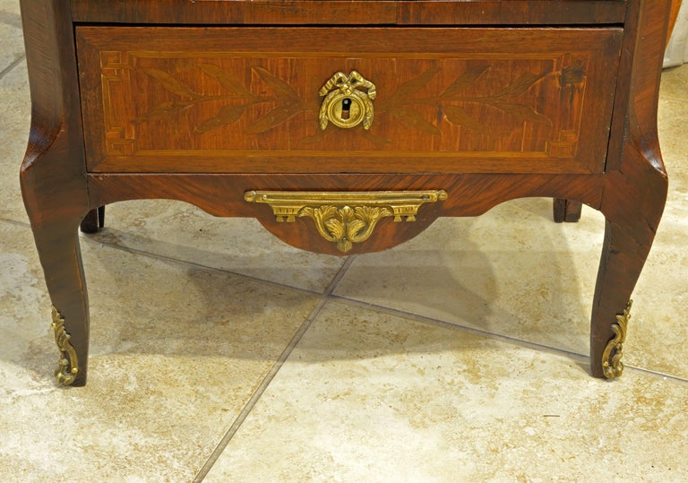 French Louis XVI Style Six-Drawer Bronze-Mounted Marble-Top Semainier Commode 5
