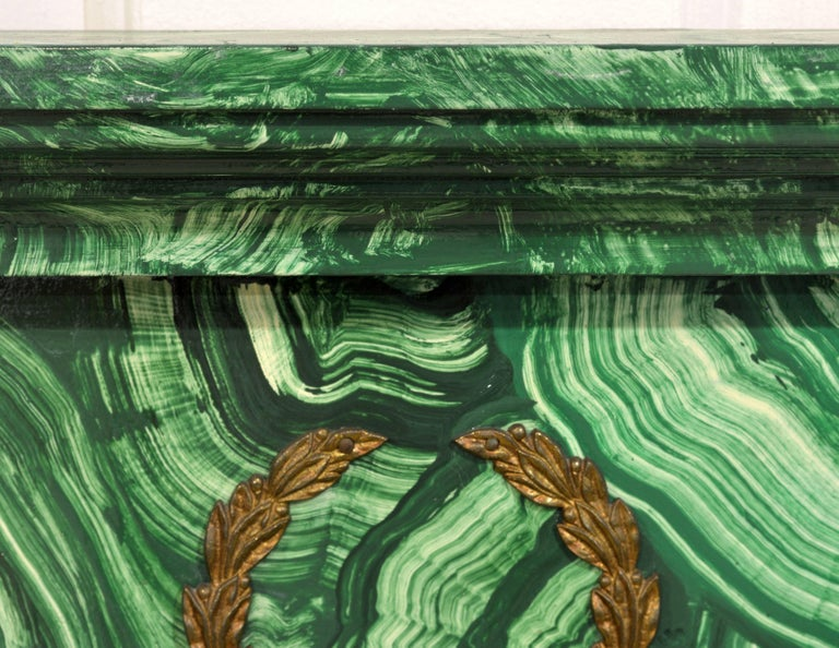 Spectacular French Neoclassical Style Malachite Painted & Bronze Mounted Mirror For Sale 5