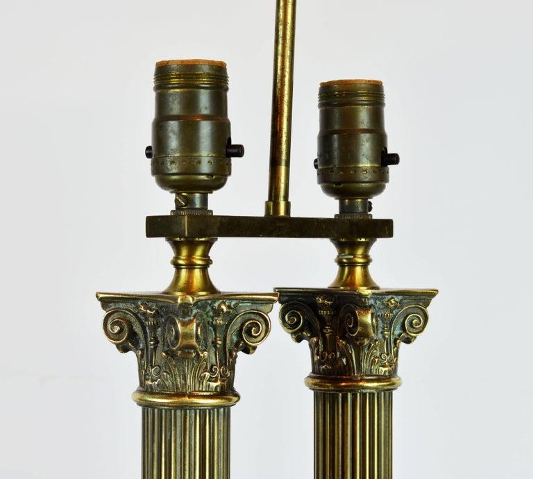 Distinguished Bronze and Marble Twin Corinthian Columns Gentleman's Desk Lamp 8