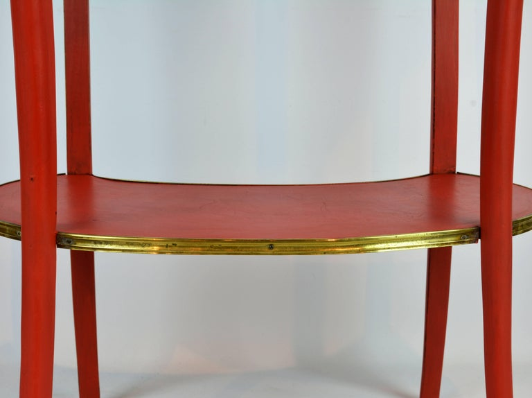 Charming French Provincial Painted and Bronze-Mounted Kidney Shape Accent Table 6