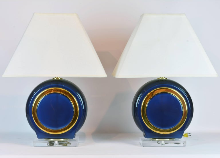 Pair of Classy Mid-Century Modern Cobalt Blue and Gilt Glass Lamps, Lucite Bases 2