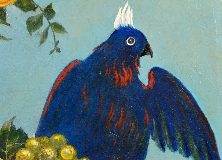 Italian Provincial 19th Century Oil with Flowers, Fruit and Blue Cockatoo For Sale 1