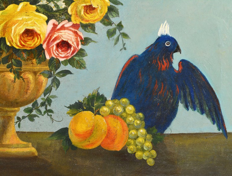 Baroque Italian Provincial 19th Century Oil with Flowers, Fruit and Blue Cockatoo For Sale