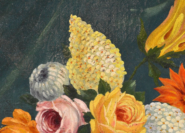 Italian Provincial 19th Century Oil with Flowers, Fruit and Blue Cockatoo For Sale 3