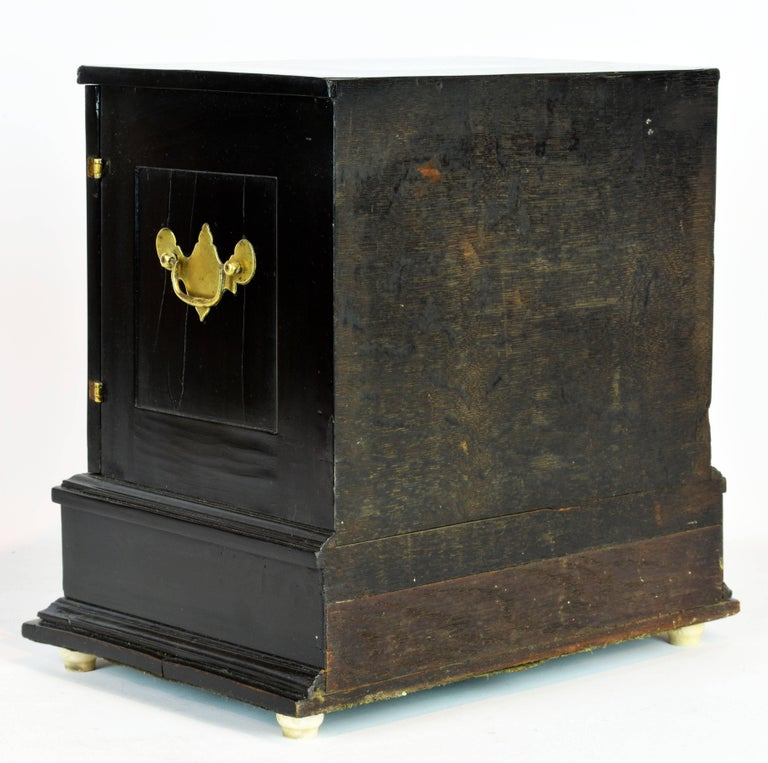 Italian Superior 19th Century Neoclassical Ebonized and Ivory Inlaid Table Cabinet For Sale