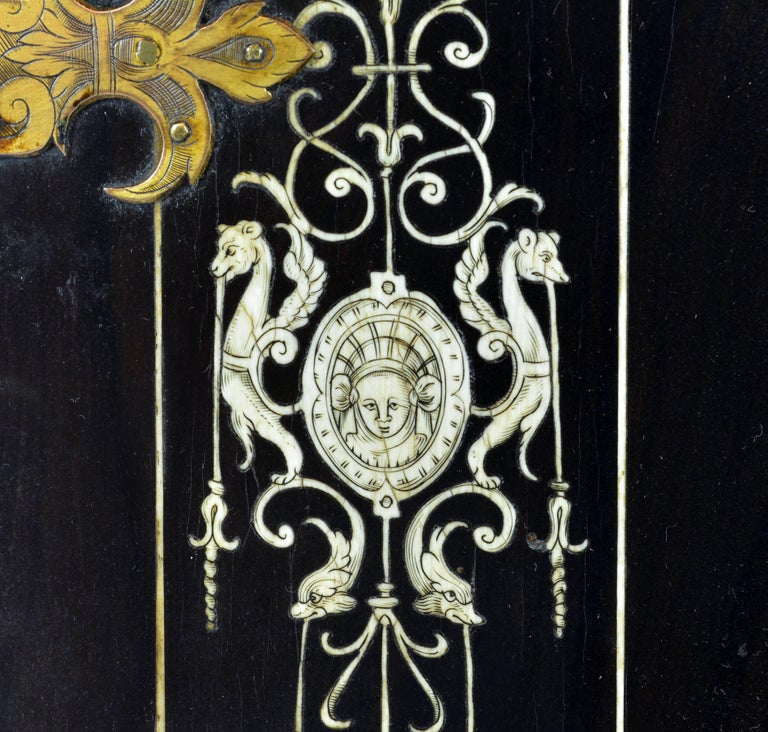 Superior 19th Century Neoclassical Ebonized and Ivory Inlaid Table Cabinet For Sale 4