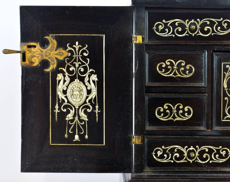 Superior 19th Century Neoclassical Ebonized and Ivory Inlaid Table Cabinet For Sale 1